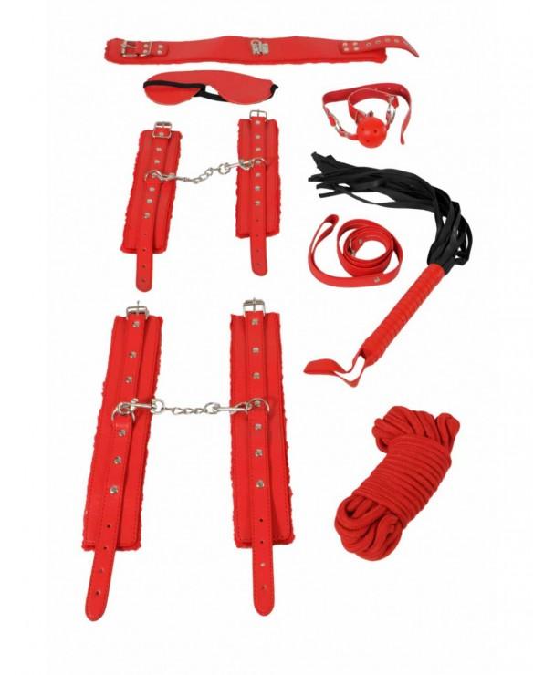 Set Bondage rosso in 8 pezzi