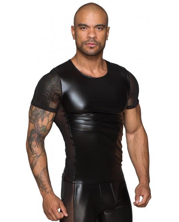 Shirt da uomo nera con inserti in rete - Noir Handmade