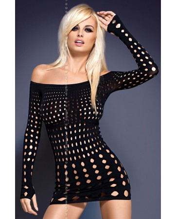 Rocker Dress Black Mini Abito