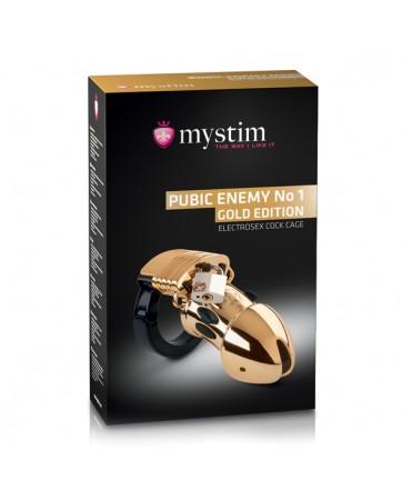 Gabbia Mystim - Pubic Enemy No 1 Cock Cage Gold Edition