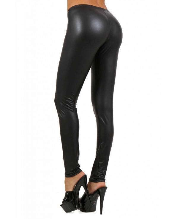Legging wetlook nero - Clubwear