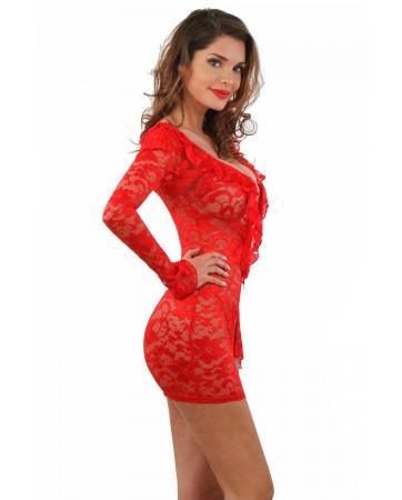 Mini abito rosso in pizzo, con maniche lunghe