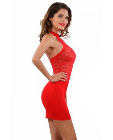 Mini abito rosso con pizzo