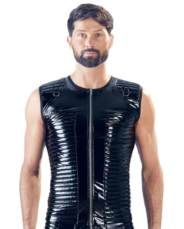 Camicia nera in vinile senza maniche, stile biker