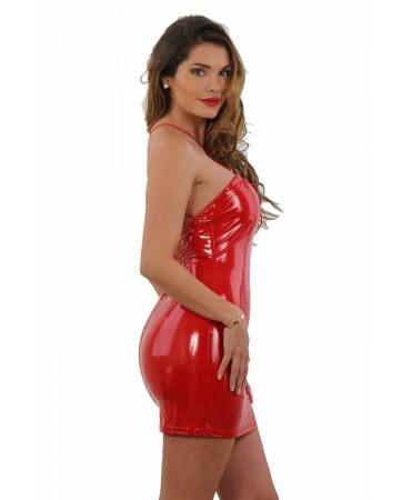 Mini abito rosso in vinile - SPAZM