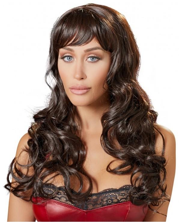 Parrucca con capelli lunghi castani